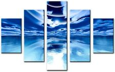 5 Panel Total Size 115x80cm Large CANVAS  PICTURES WALL ART PRINTS ICE Blue