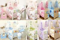 Baby Girl / Boy 5pc NURSER BABY COT SET CANOPY+ HOLDER/BUMPER/PILLOW QUILT CASE