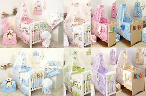 Baby Girl/Boy 5 or7pc NURSER BABY COT SET CANOPY+HOLDER/BUMPER/PILLOW-QUILT CASE