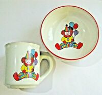 VTG Childs Cup Bowl Set CIRCUS CLOWN Colorful Bright Excellent Condition
