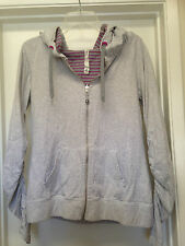 LULULEMON Gray Pink Striped Reversible 'AURA' Cotton Zip Jacket Hoodie Sz 10 EUC