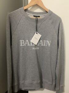 Balmain Grey Logo Print Sweater - Size S