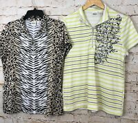 Chicos zenergy Golf polo shirt top womens 2 or large LOT of 2 half zip animal W7