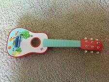 Kindergitarre Holz buntes Tiermuster hochwertig und neuwertig