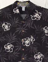 Breakwater L Mens Hawaiian Aloha Camp Shirt Hibiscus Flowers Fronds Floral Black