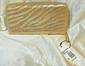 Brahmin Skyler Gold Zebra Print Wristlet Wallet L94 99 00097 MSRP $175