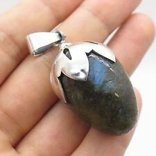 Vtg 925 Sterling Silver Large Real Labradorite Gemstone Handmade Pendant