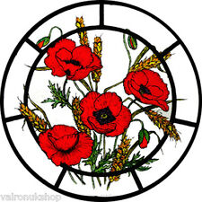 STAINED GLASS WINDOW ART STATIC CLING MEADOW POPPIES