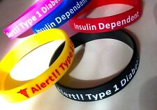 Diabetes Type 1 Medical Insulin Alert Silicone Wrist Band Bracelet UK SHOP