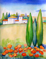 Toscana mit Mohn Landschaft  Aquarell Tuscany landscape  watercolor Painting
