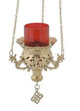 Christian Church Hanging 3 Chain Engraved Brass Oil Lamp & Votive Glass Lambada