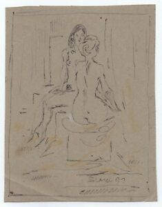 Original Miriam Slater Black Ink & Pastel Figure Drawing Two Woman Nudes Signed