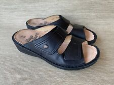FINN COMFORT Jamaica Black Two Strap Leather Sandals, Size 35 EU