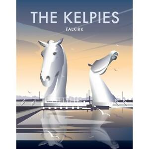 The Kelpies - Falkirk - (by Dave Thompson)  steel fridge magnet  (se)