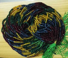 "AAA+ 15"" 2x4mm  Faceted Rondelle Multicolor Gemstone Beads Strand 15"""