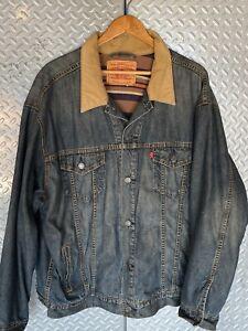 Vintage Mens LEVIS Blanket Lined Blue Denim Jeans Jacket / Coat ~ XXL