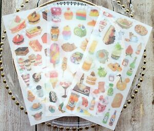 FOOD & DRINK STICKERS Cake Baking Scrapbook Journal Diary Card Craft Decoration