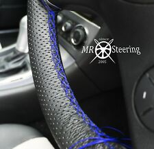 FOR MERCEDES CLK 2003+ PERFORATED LEATHER STEERING WHEEL COVER R BLUE DOUBLE ST