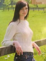 KNITTING PATTERN Ladies Beaded Cable Jumper Sweater Long Sleeves Debbie Bliss