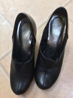 Marks and Spencer M&S black INSOLIA leather shoes heels size 5 excellent