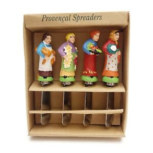 VTG Set of 4 Provencal Spreaders Knife Set Women Chef Butter Cheese Jelly 1998