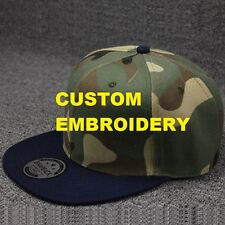 Create Your Custom Personalised Embroidery Camo FLAT Navy Brim SNAPBACK Cap Hat