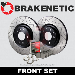 [FRONT] PREMIUM GT SLOT Brake Rotors + POSI QUIET Ceramic Pads BPK58012