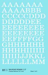 K4 G Decals White 1/2 Inch Railroad Roman Letter Number Alphabet Set