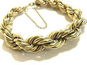 VINTAGE Sgd ABO 14k Gold Fancy Twisted Graduated Rope Bracelet 17.4 grams Charm