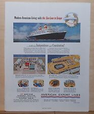 1951 magazine ad for American Export Line Cruises - Sails Sun-Lane to Europe