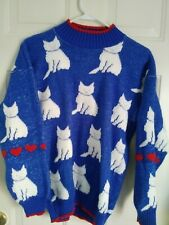 80s Blue and White Cat Kitty Hearts Sweater Vintage Kawaii Cat Lady Large