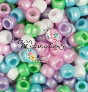 3 For 2 X100 PASTEL PEARL MIX 9 X 6mm PONY BEADS IDEAL FOR CRAFTS