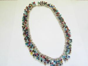 NEW Colorful CRYSTAL/GLASS Charm NECKLACE - Handcrafted DELICATE Fringe-ONE OOAK