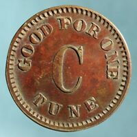 Music Box/Player Piano Token, ca. 1900, Good for One Tune C, 20 mm Bowers C-150
