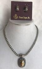 Premier Designs Vintage Snap Necklace Removable Pendant Two Tone& Marcy Clips