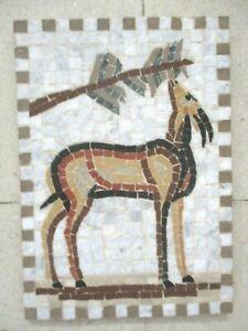 Handmade roman marble mosaic Wall hanging MOSAIQUE gazelle deer