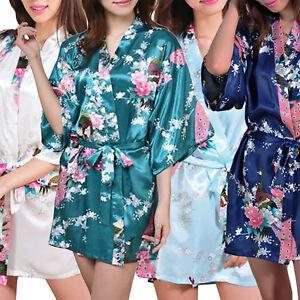 Womens Short Floral Silk Kimono Robe, Sizes 2 to 18, Bride & Bridesmaid Robes