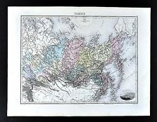 1880 Migeon Map - Siberia - Russia in Asia Arctic Ocean North Pole Tobolsk View