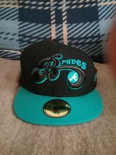 New era fitted cap 7 1/2 Atlanta Braves Black/Teal Atlanta Exclusive