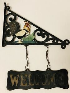 Rooster Chicken Welcome Cast Iron Sign Double Sided For Wall Fence Gate House