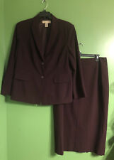 Womens Apostrophe Essentials 2pc Suit Blazer & Maxi Skirt Plus SZ 18W Plum Wine