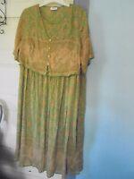 CHELSEA STUDIO 14W New no Tag Vintage 100% Rayon DRESS  NWT India Green Print