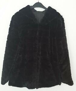 Damen-Winterjacke Teddyjacke Plüschjacke  Kapuze Größe S/M  schwarz