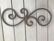 Antique Vintage Architectural Salvage Rusty Metal Scroll  Piece ~ Wall Decor~