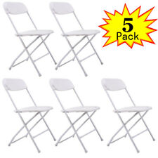 White Set of 5 Plastic Folding Chairs Wedding Party Event Chair Commercial