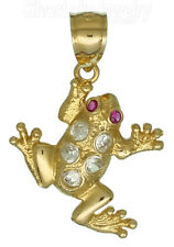14K Yellow Gold Frog Toad w/Clear & Ruby Colored CZ Charm Pendant