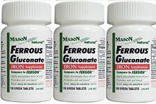 FERROUS GLUCONATE IRON SUPPLEMENT 100 GREEN TABLETS PACK OF 3