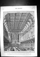 Old Antique Print 1873 Royal Visit Bolton Banquet Town Hall Architecture 19th