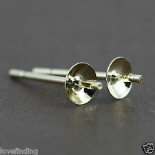 Genuine 9CT Solid Yellow Gold Pearl Cap Earrings - 5mm