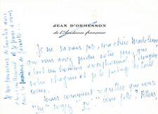 Jean D'ORMESSON - Carte autographe signée -
